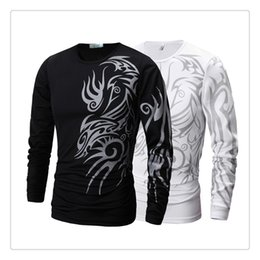 Barato Dragão De Manga Longa T-T-shirts para homens Springautumn Dragon Tattoo Sprinting Men's Casual Slim Fit Long Sleeves Sports T-shirts Tamanho dos EUA: XS-XL