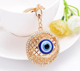 $enCountryForm.capitalKeyWord UK - PRO ACME Personalized Metal Crystal Evil Eye Key Ring Unisex Keyring Car Keychain Women Charms HandBag Pendant llaveros