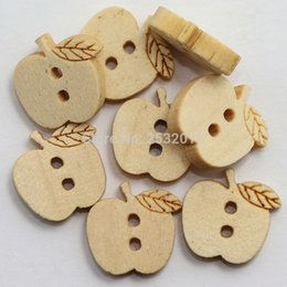 craft wholesale wooden natural buttons Australia - Wholesale Acces 100 pcs Kids Wood Button Diy Sewing Scrapbooking Crafts Cartoon Apple Wooden Button 2 Holes 14x13mm Natural Color