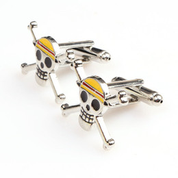 pirates logos 2019 - One Piece Cufflinks The Straw Hat Pirates Skull Logo Cufflinks Anime Jewelry Gift For Men Free Shipping discount pirates