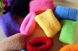 order towels NZ - Best gift Wide edge towel candy color high elasticity without access to the plush rope rope hair loop FQ050 mix order 100 pieces a lot
