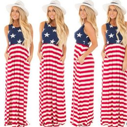 Robes Élégantes Pour Femmes Pas Cher-2017 Stylish Women Vest Tank Maxi Dress Mode Impression de drapeau américain sans manches Casual Summer Long bodycon Robes
