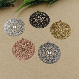 $enCountryForm.capitalKeyWord Australia - BoYuTe 20Pcs 30MM Filigree Flower Pendant 6 Colors Plated Etched Sheet Diy Pendant Charms for Necklace Jewelry Making