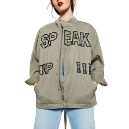 China Wholesale- Women Vintage Army Green Letter Printed Jacket Coats Ladies Bird Embroidered Loose Punk Outwear Streetwear Tops Chaquetas Mujer cheap embroidered jackets ladies suppliers