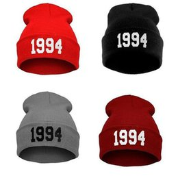 Discount beanies hombres - Warm Winter Letter Hats for Women Men 1994 Korean Style Hip Pop Skullies Beanies Men Sombreros Casual Caps Beanie Gorros