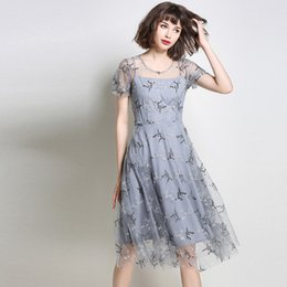 Barato Vestido Curto Grande Elegante-Net Yarn Bordados Bead Piece Vestido de verão Grandes Swing Dresses Short Sleeve Sheer Casual Vintage Elegant Fairy Dress Vestidos