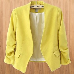 Blazers Short Coat Canada - Women Stylish Korean Candy Color Slim Short Casual Suit Jacket Blazer Coat Fashion