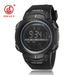 ohsen sports watches UK - OHSEN Digital Relogio Masculino Mens Wristwatches Army Fashion Black Rubber Strap Alarm Date LCD 50M Swim Sports Male Man Watch Montre Homme