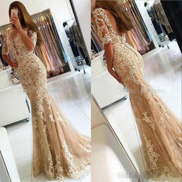 Discount evening gown backless - 2017 New Champagne Lace Mermaid Prom Dresses veatidos Sheer Jewel Neck Half Sleeves Appliques Tulle Floor Length Long Ev