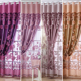Simple Modern European Style High End Sheer Floral Voile Tulle Rod Pocket  Curtain Fine Window Curtain Drape Valance