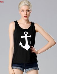 Barato T Retro Tanques Camis-2017 Quality Anchor Tank Tops Graphic Tee Senhoras Vestuário Voltar Bow Knot Sleeveless T-Shirt Summer Woman Coletes Casual Camis Tanks EU000924