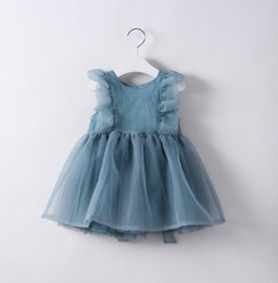 Habille Les Enfants Blancs Verts Pas Cher-2017 Europe Mode Été Girls Ball Gown Party Dress Bébé Enfants Ruffles Gauze Veil Princess Dress Enfants Vêtements Bleu Blanc Vert