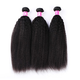 China Wholesale 10bundles lot Cheap 7A Kinky Straight Virgin Brazilian Hair Weaves 1B Natural Black Human Remy Hair Weft For Black Women Forawme cheap remy straight hair for cheap suppliers