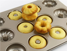 Discount cake bake mold stick - Carbon Steel 12 cups Donuts Mold 3 Pattern Non-Stick Cake biscuit mold Stainless steel Baking mold