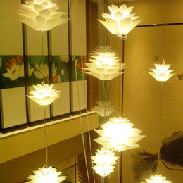 DIY Lotus Chandelier IQ Puzzle Pendant Light Decor Ceiling Light Art Lampshade White Color HighQuality on Sale