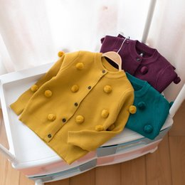 Manteau Chandail Hiver Enfant Fille Pas Cher-Everweekend Baby Girls Crochet Dots Sweater Cardigans Candy Color Autumn Winter Jackets Outwears Cute Children Vêtements