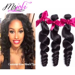 Discount 28 weave - 7A Brazilian Unprocessed virgin human hair Loose wave natural color three bundles queen hair 3pics lot double weft from