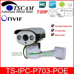 micro wired camera audio 2018 - TSCAM SP-P703-POE Bullet IP Camera Outdoor ONVIF HD 720P 1.0MP POE TF Micro SD Slot Two Way Audio Line P2P Android IOS c