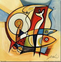 Painting Can Australia - Framed Sun Fish & Alfred Gockel Handpainted Abstract Art oil painting,Home Decor On High Quality Canvas size can be customized