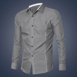 Chemise Habillée En Mode Élégante Noire Pas Cher-Vente en gros - 2016 Fashion New Mens Long Sleeve à manches longues Slim Fit Stylish Dress Shirts Gris Blanc Noir M-XXL Taille Hommes Chemises