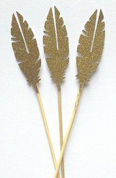 $enCountryForm.capitalKeyWord Canada - Custom personality Glitter Gold Feather Cupcake Toppers Garden Party Decor. picks Birthday wedding bridal baby shower cake decorations