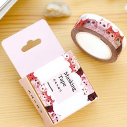 Stationery Wholesale Packs Australia - Wholesale- 2016 15mm * 10m Packed With Paper Tape Onlookers Cats May Tear Tape for diary frame scrapbooking Deco sticker Zakka Stationery