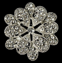 White Flower Brooches Canada - White Gold Plated Clear Crystal Diamante Flower Design Brooch