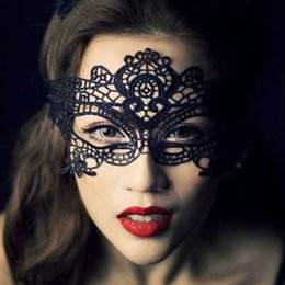 Barato Meninas Quentes Trajes Sexy-Atacado-1X Black Sexy Lady Mulheres Girl Lace Mask Cutout Eye Mask para Masquerade Halloween Fancy Dress Costume Party Hot vendas