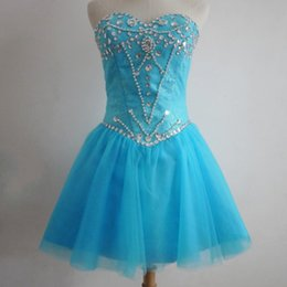 $enCountryForm.capitalKeyWord Canada - Real Photo Short Prom Dresses A Line Sweetheart Lace with Crystals Blue Short Party Dress for Girls 2019 Popular