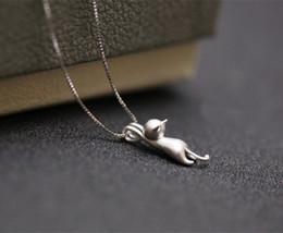 $enCountryForm.capitalKeyWord Australia - 925 Sterling Silver Plated Necklaces Cats Pendants&Necklaces Pure Sterling Silver 925 Kitty Necklace Jewelry Collar Colar de Plata