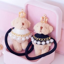$enCountryForm.capitalKeyWord Canada - 6pcs lot cute plush teddy bear with pearls crown hair rope for women rubber band fashion hair accessories
