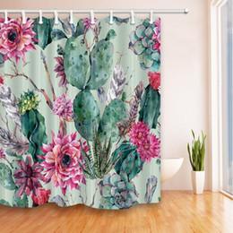 $enCountryForm.capitalKeyWord Canada - Cactus Shower Curtain Bathroom Decor Green Plant Red Flower Waterproof Polyester Fabric Home Bath Accessories Curtains Sets 70 X 70 Inch