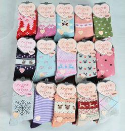 $enCountryForm.capitalKeyWord NZ - 100pairs lot women winter thicken warm rabbit wool socks female thermal snowflake cotton socks woman cartoon animal pattern socks
