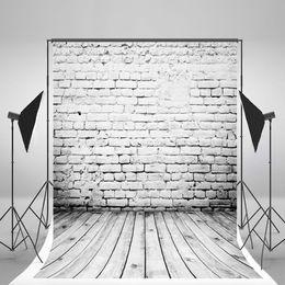 $enCountryForm.capitalKeyWord UK - 5x7ft(150x210cm) White Brick Wall Photo Backgound Broken Brick Gray Wood Floor Backdrops for Children Photography