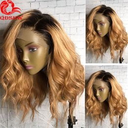blonde body wave full lace Canada - Blonde Lace Front Wig Ombre With Baby Hair Pre Plucked Body Wave Virgin Hair Brazilian Glueless Ombre Human Hair Wigs For Black Women
