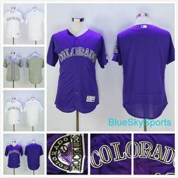 71e75f7d7 ... Colorado Rockies Blank Jersey No Name Number Baseball Jerseys White  Gray Green Cool Base Flexbase Stitched ...