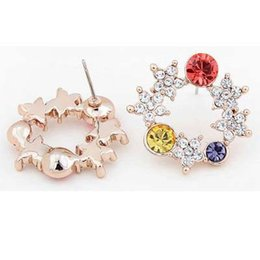 $enCountryForm.capitalKeyWord Canada - Warm spring and flowers bloom fashion Crystal Jewelry 18K Gold plated or Silver Alloy Earrings Studs