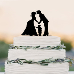 Wholesale Wedding Cake Topper Silhouette Groom And Bride With Little Boy