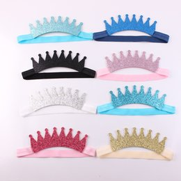 Accesorios Para El Cabello Brillan Baratos-Baby Girls Tiara Headbands Niños Sparkle Corona Bandas Princesa Headdress Hairbands Niños glitter Hair Accessories Boutique Headwear KHA462