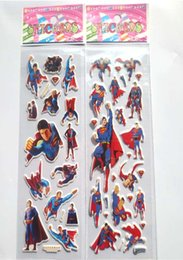 Discount hot toys superman wholesale - Hot!100sheets Superman wall stickers, superhero Superman stickers Kids room decor stickers,for Kids Birthday Gift toys s