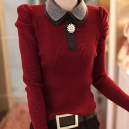 Discount one color sweater knitting - Wholesale- New 2016 autumn and winter sexy long-sleeve basic one-piece dress slim fashion knitted sweater dress women