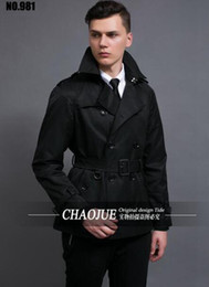 Wholesale men s business trench coat resale online - The spring and autumn period and the new leisure fashion boutique man han edition short business and leisure trench coat S XL