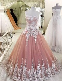 Discount pink lace dress for quinceanera - 2017 Ball Gown Quinceanera Dresses with Lace Appliques Champagne Ball Gown Prom Dresses For Girls Lace Up Prom Gowns