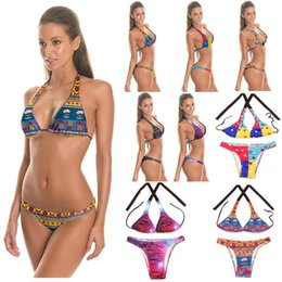 7f8593bc0bdf1 Bathing Suit Low Waist Swimsuit Bikinis Women African Print Inspired Two  Piece Swimwear Bandage Strappy Bikini Sets