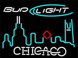 lighted bud beer signs Canada - Bud Light Chicago City Neon Sign 16x16 Neon Light Beer Sign