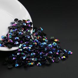 Rhinestones de resina facetada de cristal azul negro Jet AB, SS12 / SS16 / SS20 / SS20 Rhinestones de resina Flatback, diamantes de imitación de resina de todos los tamaños en venta