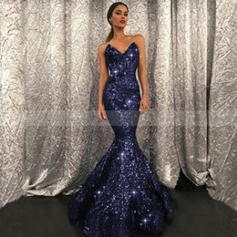 Robe Sirène Trompette Sirène Pas Cher-Sparkly Sequined Mermaid Evening Wear Gowns 2017 Sweetheart Floor Length Custom Made Formal Noir Blue Green Trumpet Prom Celebrity Robes
