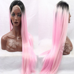 $enCountryForm.capitalKeyWord NZ - Ombre Pink Synthetic Lace Front Wigs Long Straight Top Quality Lace Front Wig Heat Resistant Lace Hair Wig For Black Women