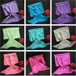 fishing sleeping bags 2019 - Wholesale-Adult Blankets Mermaid Blankets Tail Fish Blankets Women Sleeping Bag Bedding Warm Soft Handmade Knitted Sofa
