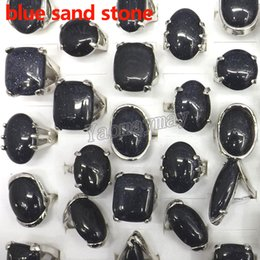 $enCountryForm.capitalKeyWord Canada - 50pcs Lot Mixed Shape Big Natural Blue Sand Stone Rings Symbol With Resolute And Brave Fit Men
